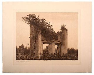 Edward Curtis (American, 1868-1952) Photogravure A Haida Chief's Tomb at Yan