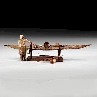 Eskimo Sealskin Kayak with Hunter