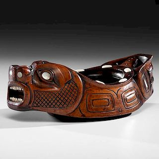 *Rudolph Walton (Tlingit, 1867-1951) and Augustus Bean (Tlingit, 1850-1926) Attributed Sea Lion Effigy Bowl