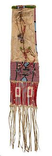 Sioux Beaded Hide Tobacco Bag From the George Philips (ca 1851-1947) Collection