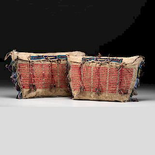 Sioux Beaded and Quilled Hide Possible Bags