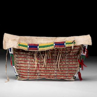 Sioux Beaded and Quilled Hide Possible Bag