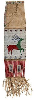 Sioux Beaded Hide Elk Dreamer Tobacco Bag From the US Children's Museum on the 19th Century