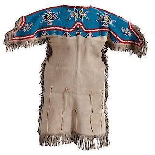 Sioux Girl's Beaded Hide Dress with Beaded Leggings and Quilled Moccasins Collected by Erwin B. Hopt (1876-1938)