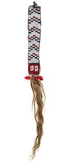 Sioux Beaded Hide Hair Ornament