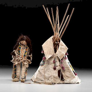 Plains Model Hide Tipi with Beaded Hide Doll
