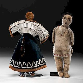 Sioux and Modoc Beaded Hide Dolls