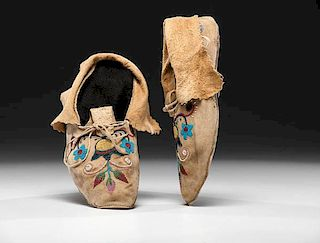 Plains Cree Beaded Hide Moccasins