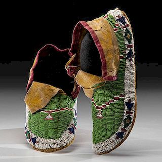 Sioux Beaded Hide Moccasins with Painted Parfleche Soles