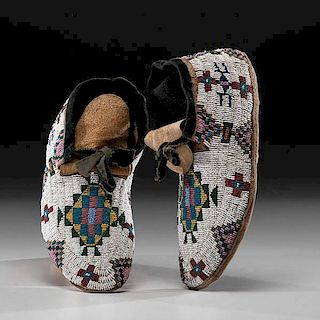 Northern Plains Beaded Hide Soft-Sole Moccasins