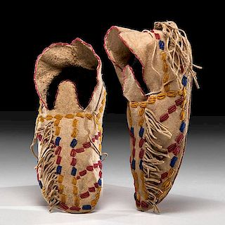 Southern Cheyenne Beaded Hide Moccasins From the US Children's Museum on the 19th Century