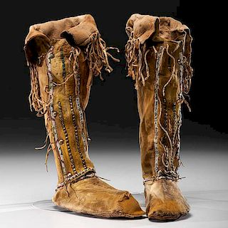 Comanche Beaded Hide Hightop Moccasins From the US Children's Museum on the 19th Century