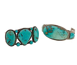 Navajo Silver and Turquoise Bracelets from Asa Glascock Trading Post, Gallup, New Mexico