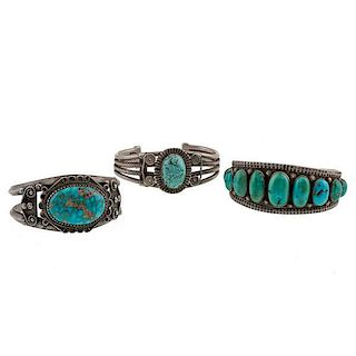 Navajo Silver and Turquoise Bracelets from Asa Glascock Trading Post, Gallup, NM