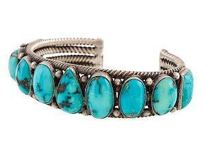 Navajo Silver and Turquoise Bracelet from Asa Glascock Trading Post, Gallup, NM
