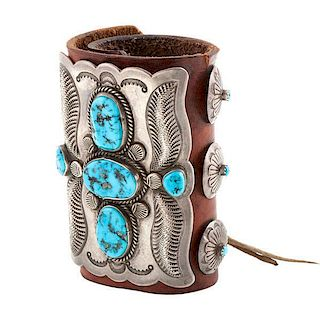 Fred Thompson (Navajo, 1921-2002) Turquoise and Silver Ketoh