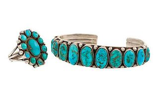 Navajo Silver and Turquoise Bracelet and Ring from Asa Glascock Trading Post, Gallup, NM