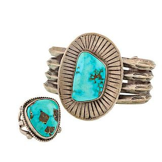 Navajo Silver and Turquoise Bracelet and Ring From Asa Glascock Trading Post, Gallup, New Mexico