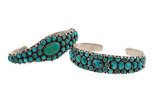 Zuni Silver and Turquoise Bracelets from Asa Glascock Trading Post, Gallup, NM
