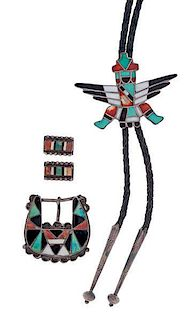Zuni Knifewing Bolo Tie with Ranger Buckle Set from Asa Glascock Trading Post, Gallup, NM