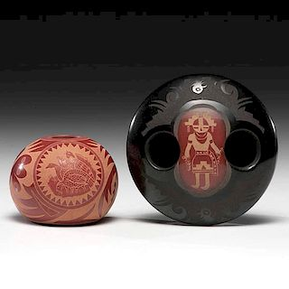 Grace Medicine Flower Tafoya (b. 1938) and Camilio Sunflower Tafoya (1902-1995) Santa Clara Sgraffito Pottery Jars