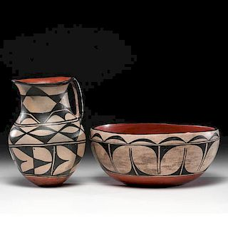 Kewa [Santo Domingo] Pottery Wash Bowl and Pitcher