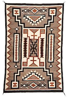 Navajo Crystal Storm Pattern Weaving / Rug From Asa Glascock Trading Post, Gallup, New Mexico
