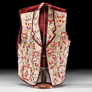 Eastern Sioux Quilled Hide Vest