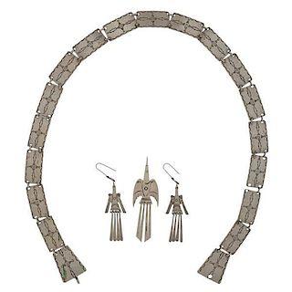 Kiowa German Silver Peyote Bird Earrings, Pin, and Hat Band