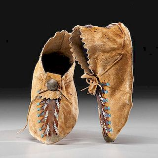Apache Beaded Hide Moccasins From the US Children's Museum on the 19th Century