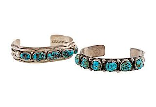 Navajo Silver and Turquoise Row Bracelets from Asa Glascock Trading Post, Gallup, NM