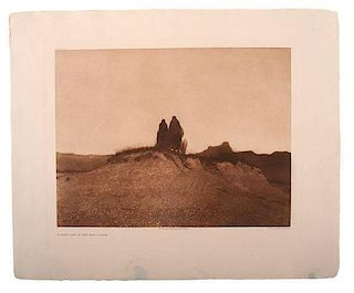 Edward Curtis (American, 1868-1952) Photogravure A Gray Day in the Badlands