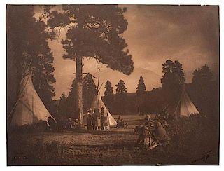 Edward Curtis (American, 1868-1952) Signed Platinum Photograph <i>Flathead Camp on the Jocko River</i>