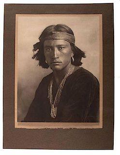 Karl Moon (American, 1879-1948) Silver Gelatin Photograph Navajo Boy