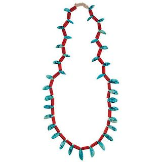 Henry Chee Dodge's (Navajo, 1857-1947) Turquois and Coral Necklace from Asa Glascock Trading Post, Gallup, New Mexico