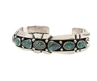 Navajo Silver and Turquoise Row Bracelet