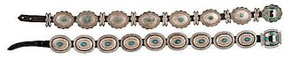 Navajo Silver and Turquoise Concha Belts from Asa Glascock Trading Post, Gallup, NM