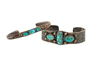 Navajo Silver and Turquoise Bracelets