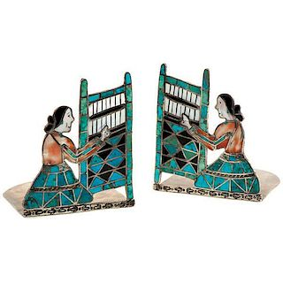 Zuni Silver and Turquoise Inlaid Bookends From Asa Glascock Trading Post, Gallup, New Mexico