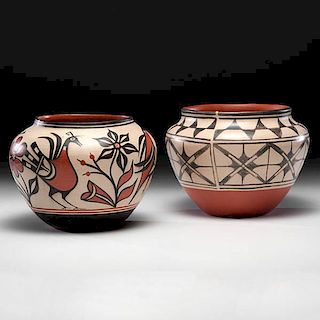 Robert Tenorio (Kewa [Santo Domingo], b.1950) Pictorial Pottery Jars
