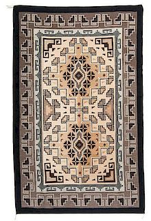 Edith Yazzie (Dine [Navajo], 20th century) Two Grey Hills Weaving / Rug