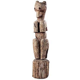 Haudenosaunee [Iroquois] Seneca Carved Wooden Bear Collected on the Tonawanda Reservation