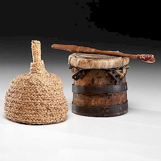 Haudenosaunee [Iroquois] Seneca Braided Cornhusk Salt Bottle Basket and Water Drum with Drumstick From the Collection of Charles E. Congdon (1877-1979