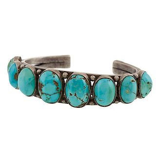 Navajo Turquoise Row Bracelet from Asa Glascock Trading Post, Gallup, NM