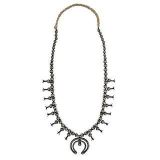 Navajo Silver Squash Blossom Necklace
