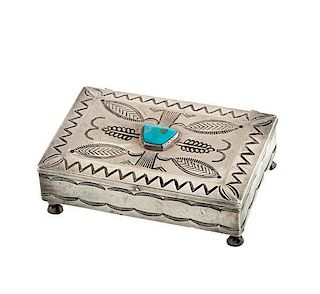 Navajo Silver and Turquoise Box from Asa Glascock Trading Post, Gallup, NM