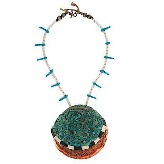 Pueblo Shell Necklace with Hubbell Blue Arrows