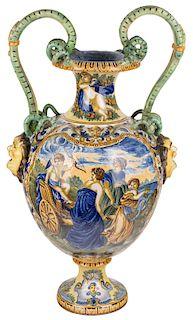 AN ITALIAN FAIENCE AMPHORA, 17TH CENTURY