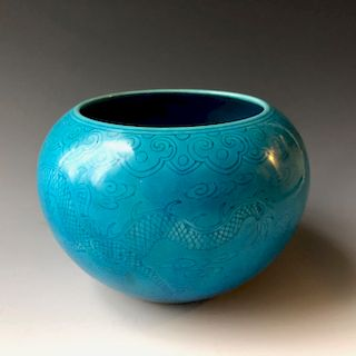 A CHINESE ANTIQUE BLUE GLAZED BRUSH WATERPOT MARKED. 19C