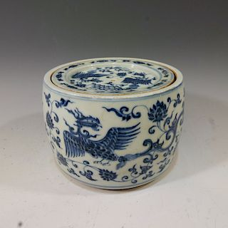 CHINESE ANTIQUE BLUE WHITE CRICKET BOX - XUANDE MARK